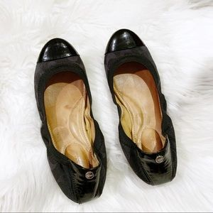 COACH Black Logo Demi Ballet Flats Size 7.5